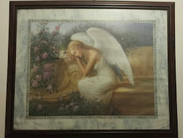 EXTRA LARGE Framed Resting Angel Wall Art