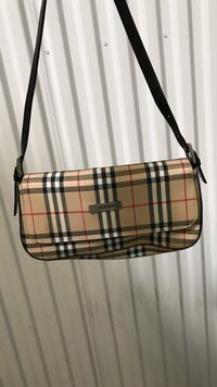 Brown and black plaid leather crossbody bag