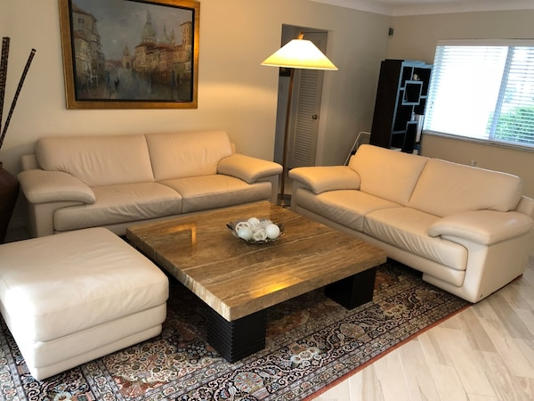 Used Natuzzi Sofa Love Seat Ottoman And Marble Coffee Table For