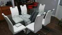 rectangular glass-top table with chairs 3729 km