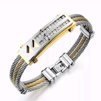 Men's stainless steel and CZ cuff bracelet