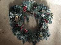Green and red garland wreath two