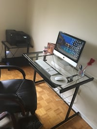 Glass computer desk **AVAILABLE*