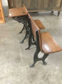 Two antique dark wood collapsable school desks cast iron filagree Olympia, 98502