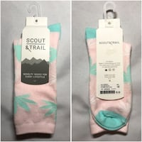Scout & Trail Weed Leaf Socks / Blue + Pink / Brand New / 1 Size
