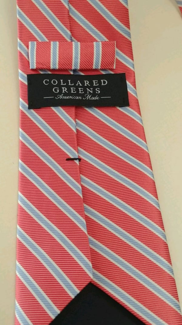 Men's tie 100% silk USA made Collared Greens stripped afc3199a-5ac4-482a-8056-982cce74a486