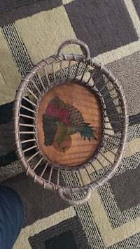 Oval grey rattan fruit basket