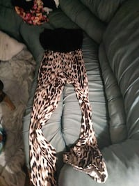women's black and brown leopard print stretch pants null