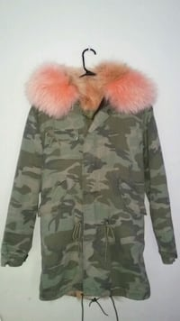 brown and green camouflage zip-up parka jacket Vancouver