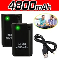 (NEW) 4800mAH Battery USB Charger Cable Pack for XBox360 Controller x 2 LONDON