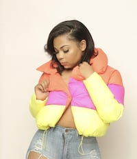 ColorBlock neon puffer coat