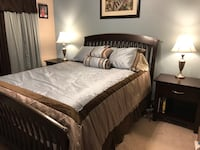 Blue / chocolate / tan queen comforter set with matching drapes Louisville, 40223