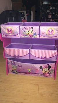 Purple and pink Mickey Mouse and Minnie Mouse toy storage