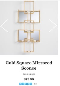 Gold Square Mirrored Sconce Tampa