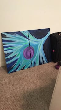 blue, green, and purple abstract painting