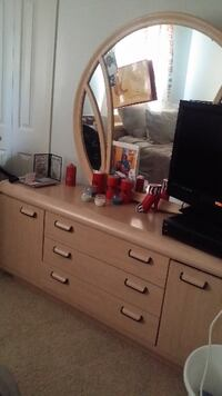 brown wooden sideboard with mirror AKRON