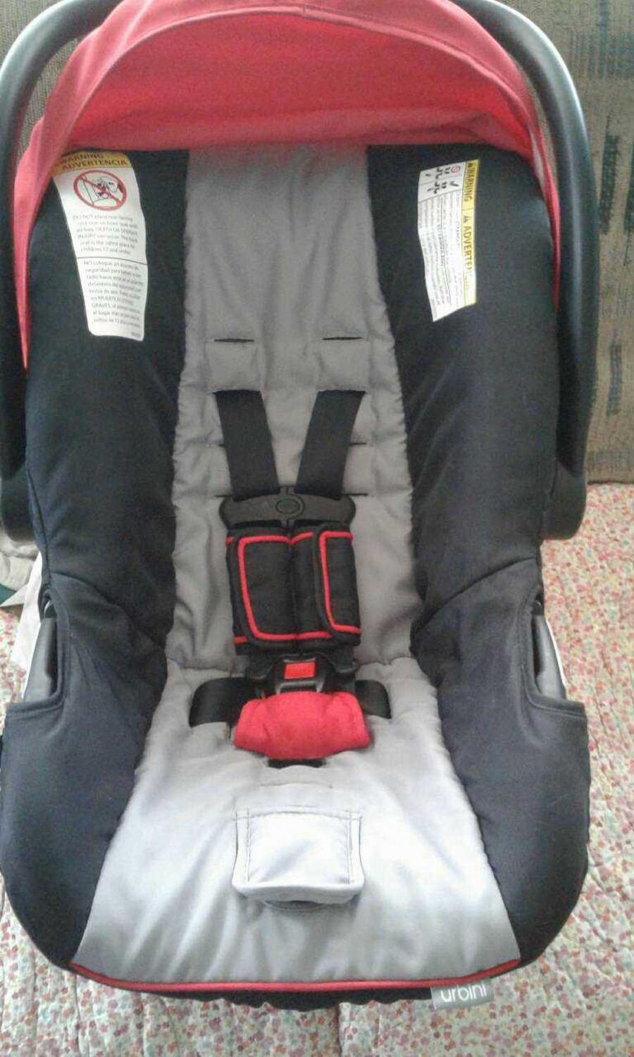 used infant car seat red and black in. Black Bedroom Furniture Sets. Home Design Ideas
