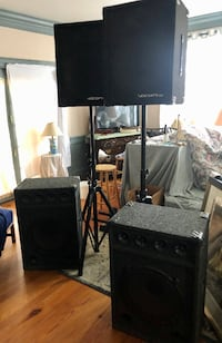 [2] Subwoofers, [2] speakers, [2] Tripods, [1] Mixer, [4] mics/cords Rock Hall