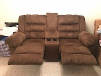 Brown suade couch with double recliner, middle console, and cup holders. Barely used and great condition. Price somewhat negotiable. White Plains, 10605