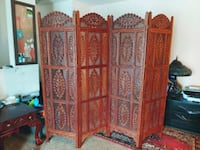 Four panel vintage Indian hand carved wood screen  Virginia Beach, 23454