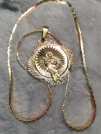 18k GPL San Judas Pendant With Chain Necklace