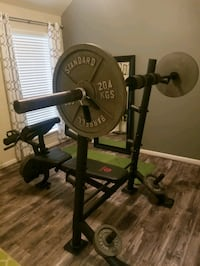 Marcy Olympic Weight Bench, 260lbs in plates and barbell stand