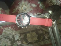round silver analog watch with red leather strap Woodbridge, 22193