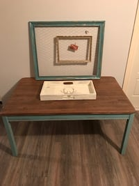 brown and turquoise  wooden end table Les Cèdres, J7T