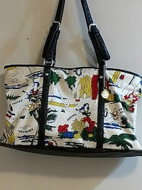 white, red, yellow, and black leather tote bag Clyde, 28721