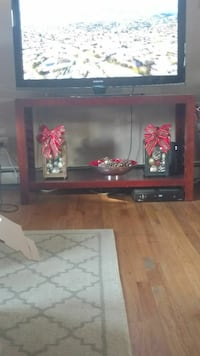 Wood tv stand and two matching end tables