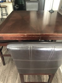 Brown High Table, with 3 chairs and a leaf inside to expand the table   Atlanta, 30316