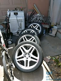 gray 5-spoke car wheel with tire set North Highlands, 95660