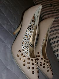 beige leather gold studded pumps