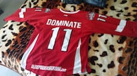 red and white Dominate 11 crew-neck jersey shirt