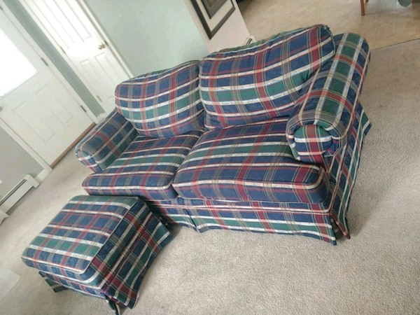 Outstanding Used Blue White And Red Plaid Sofa For Sale Letgo Gamerscity Chair Design For Home Gamerscityorg