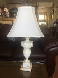 White table lamp with cone lamp shade