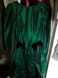 Satin holiday party dress; hunter green with black velvet bow tie acce