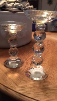 Crystal candle holder with diamonds around them Equality, 36026