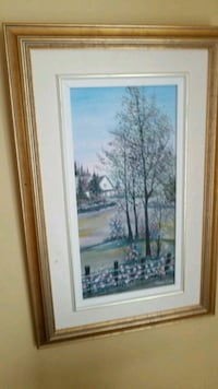 white wooden framed painting of trees Montréal, H3R 2E6
