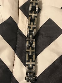 Simmons Jewelry Co. Men's Bracelet (Black and Silver) Baltimore, 21201
