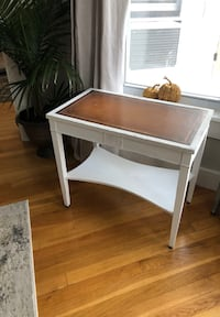 Distressed refinished white side table