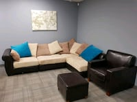 brown leather sectional sofa with throw pillows Burlington, L7R 2B3