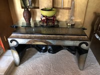 brown wooden coffee table with two side tables SCOTTSDALE