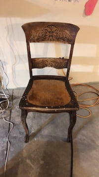 brown wooden frame black padded chair Scott Township, 18447