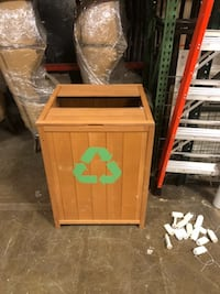 Wooden Trash Bin - decal removable 31 km