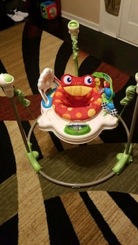 baby's white and green Fisher-Price jumperoo