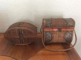Vintage Wood and Rattan Decorative Purses