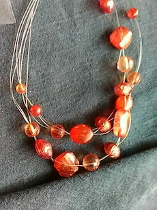 silver and brown beaded necklace