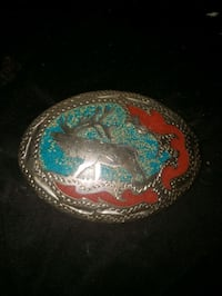 Handmade Turquoise & Red Sand Hand Engraved Silver Belt Buckle with M