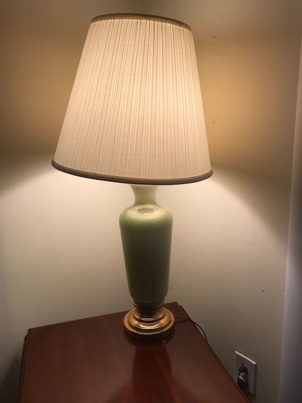 gray and white table lamp